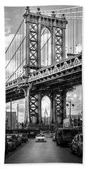 Iconic Manhattan Bw Beach Sheet by Az Jackson