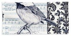 Indigo Vintage Songbird 2 Beach Towel by Debbie DeWitt