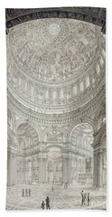 Interior Of Saint Pauls Cathedral Beach Towel by John Coney