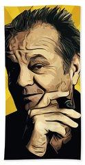 Jack Nicholson 3 Beach Towel by Semih Yurdabak