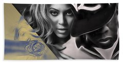Jay Z Beyonce Collection Beach Sheet by Marvin Blaine