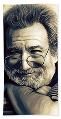 Jerry Garcia Artwork  Beach Sheet by Sheraz A