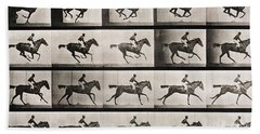 Jockey On A Galloping Horse Beach Towel by Eadweard Muybridge