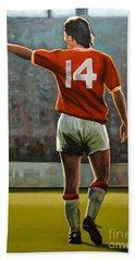 Johan Cruyff Oranje Nr 14 Beach Towel by Paul Meijering