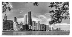 John Hancock Chicago Skyline Panorama Black And White Beach Towel by Christopher Arndt