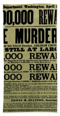 John Wilkes Booth Wanted Poster Beach Sheet by War Is Hell Store