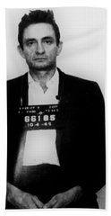 Johnny Cash Mug Shot Vertical Beach Towel by Tony Rubino