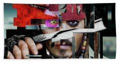 Johnny Depp - Collage Art Matt Beach Towel by Prar Kulasekara