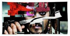 Johnny Depp - Collage  Beach Towel by Prar Kulasekara