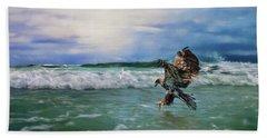 Juvenile Eagle At Sea Wildlife Art Beach Towel by Jai Johnson
