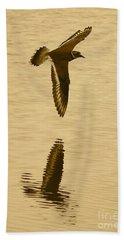 Killdeer Over The Pond Beach Sheet by Carol Groenen