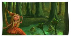 Kissing Frogs Beach Towel by Andy Catling