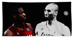 Two Masters Of The Game Kobe Bryant And Dwyane Wade Beach Towel by Brian Reaves
