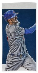 Kris Bryant Chicago Cubs Art 3 Beach Towel by Joe Hamilton