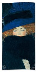 Lady With A Hat And A Feather Boa Beach Towel by Gustav Klimt