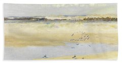 Lapwings By The Sea Beach Sheet by William James Laidlay