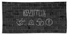 Led Zeppelin Brick Wall Beach Towel by Dan Sproul