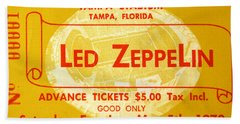 Led Zeppelin Ticket Beach Towel by David Lee Thompson