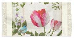 Les Magnifiques Fleurs I - Magnificent Garden Flowers Parrot Tulips N Indigo Bunting Songbird Beach Towel by Audrey Jeanne Roberts