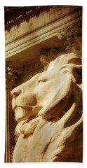 Lion In The Sun Beach Sheet by Jon Woodhams