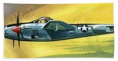 Lockheed P-38j Lightning Beach Towel by Wilf Hardy