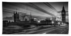 London Westminster Bridge Traffic Beach Sheet by Melanie Viola