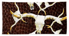 Longhorn Art - Cattle Call - Bull Cow Beach Towel by Sharon Cummings