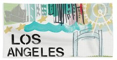 Los Angeles Cityscape- Art By Linda Woods Beach Sheet by Linda Woods