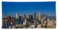 Los Angeles Skyline Beach Towel by Chris Brannen