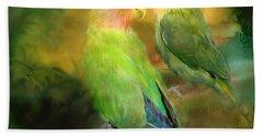 Love In The Golden Mist Beach Sheet by Carol Cavalaris