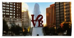 Love Park - Love Conquers All Beach Sheet by Bill Cannon
