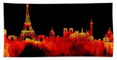 Love Paris In Golden Night Beach Sheet by Prar Kulasekara