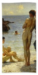 Lovers Of The Sun Beach Towel by Henry Scott Tuke