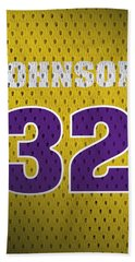 Magic Johnson Los Angeles Lakers Number 32 Retro Vintage Jersey Closeup Graphic Design Beach Towel by Design Turnpike