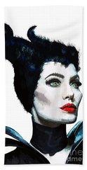 Maleficent - Angelina Jolie Beach Towel by Prar Kulasekara