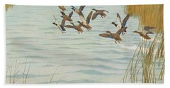 Mallards In Autumn Beach Towel by Newell Convers Wyeth