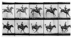 Man And Horse Jumping Beach Towel by Eadweard Muybridge