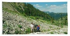Man And Llama Packing Over A High Alpine Mountain Pass Beach Sheet by Jerry Voss