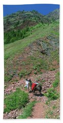 Man Hiking With Llama High Alpine Mountain Trail Beach Sheet by Jerry Voss