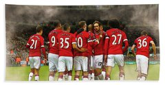 Manchester United  In Action  Beach Towel by Don Kuing
