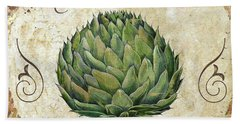 Mangia Artichoke Beach Towel by Mindy Sommers