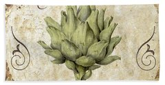 Mangia Carciofo Artichoke Beach Towel by Mindy Sommers
