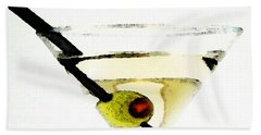 Martini With Green Olive Beach Towel by Sharon Cummings