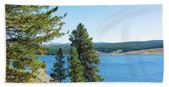 Meadowlark Lake And Trees Beach Sheet by Jess Kraft