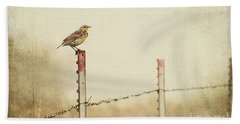 Meadowlark On A Post Beach Sheet by Pam  Holdsworth