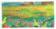 Meadowlarks Coneflower Field Beach Towel by Cathie Richardson