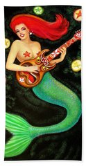 Mermaids Rock Tiki Guitar Beach Towel by Sue Halstenberg