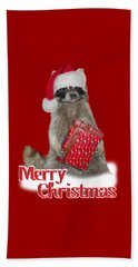 Merry Christmas -  Raccoon Beach Towel by Gravityx9 Designs