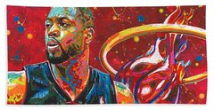 Miami Heat Legend Beach Towel by Maria Arango