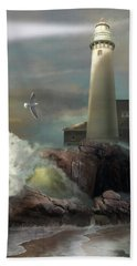 Michigan Seul Choix Point Lighthouse With An Angry Sea Beach Towel by Regina Femrite